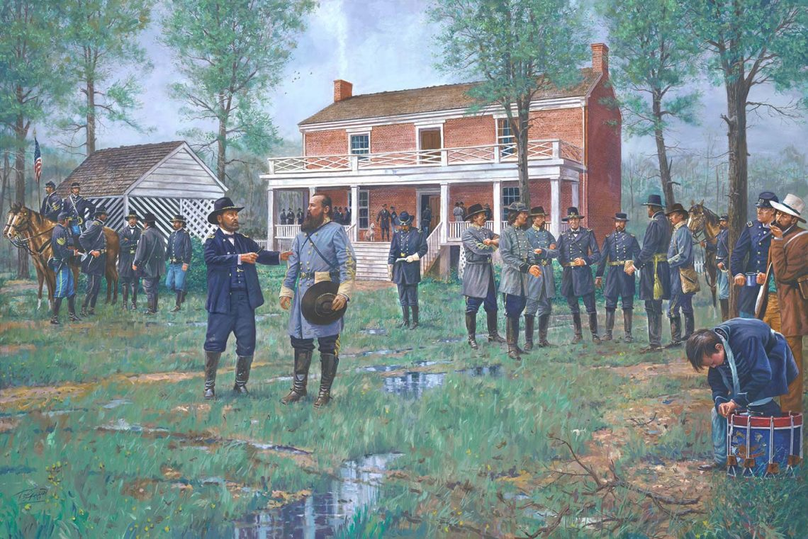 April 10, 1865 - Longtime friends General James Longstreet & General U.S. Grant meet at Appomattox.