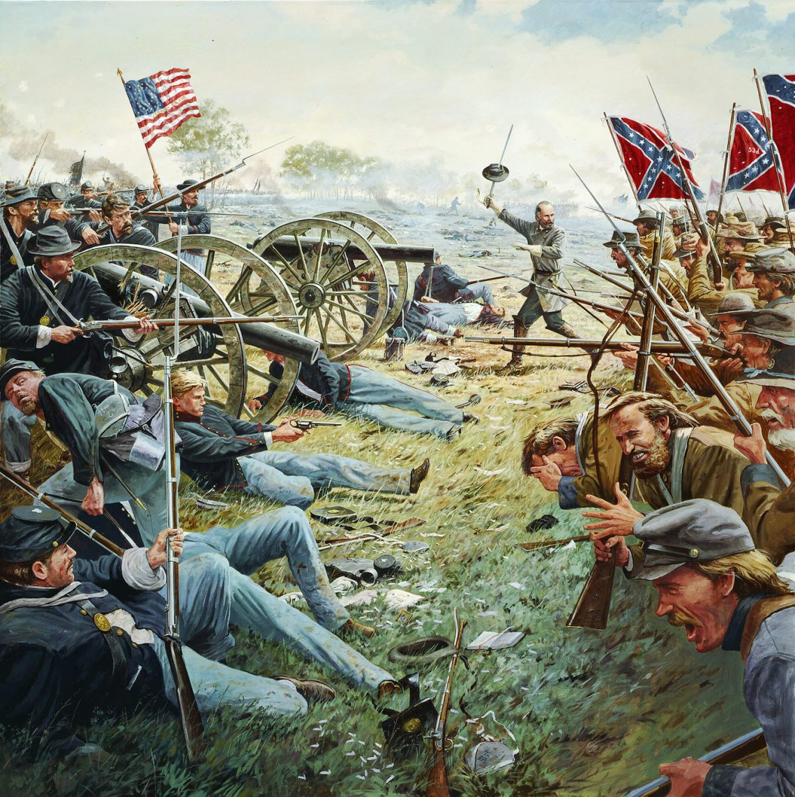 Gettysburg, PA, July 3, 1863 - Brigadier General Lewis Armistead leading the heroic and tragic moments of Pickett's Charge at the High Water Mark.