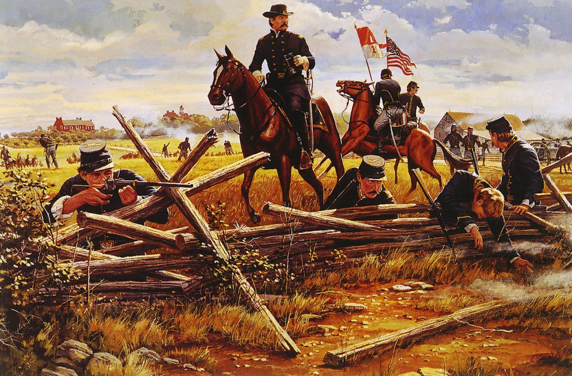 Gettysburg, PA - General John Buford and his dismounted troopers holding A. P. Hill's Corps on the morning of the 1st of July, 1863.