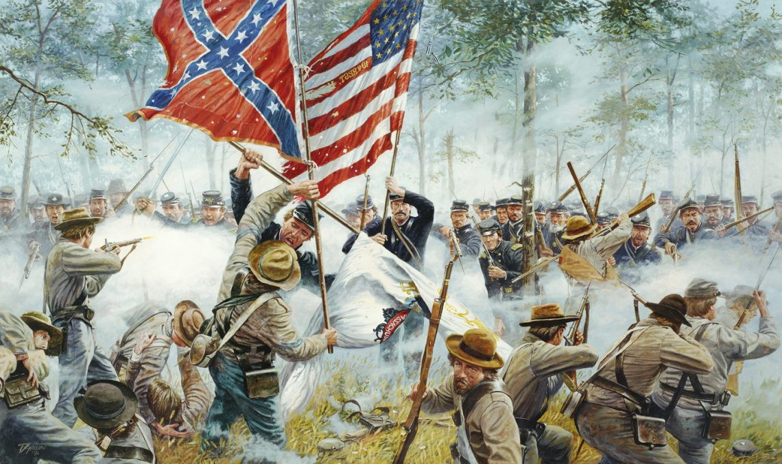 Gettysburg, PA, July 3, 1863 - Major Edmund Rice leading the 19th Massachusetts Volunteer Infantry Regiment engages the 14th Virginia Infantry.