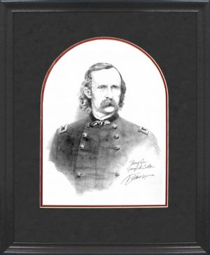 Framed Custer Pencil Sketch
