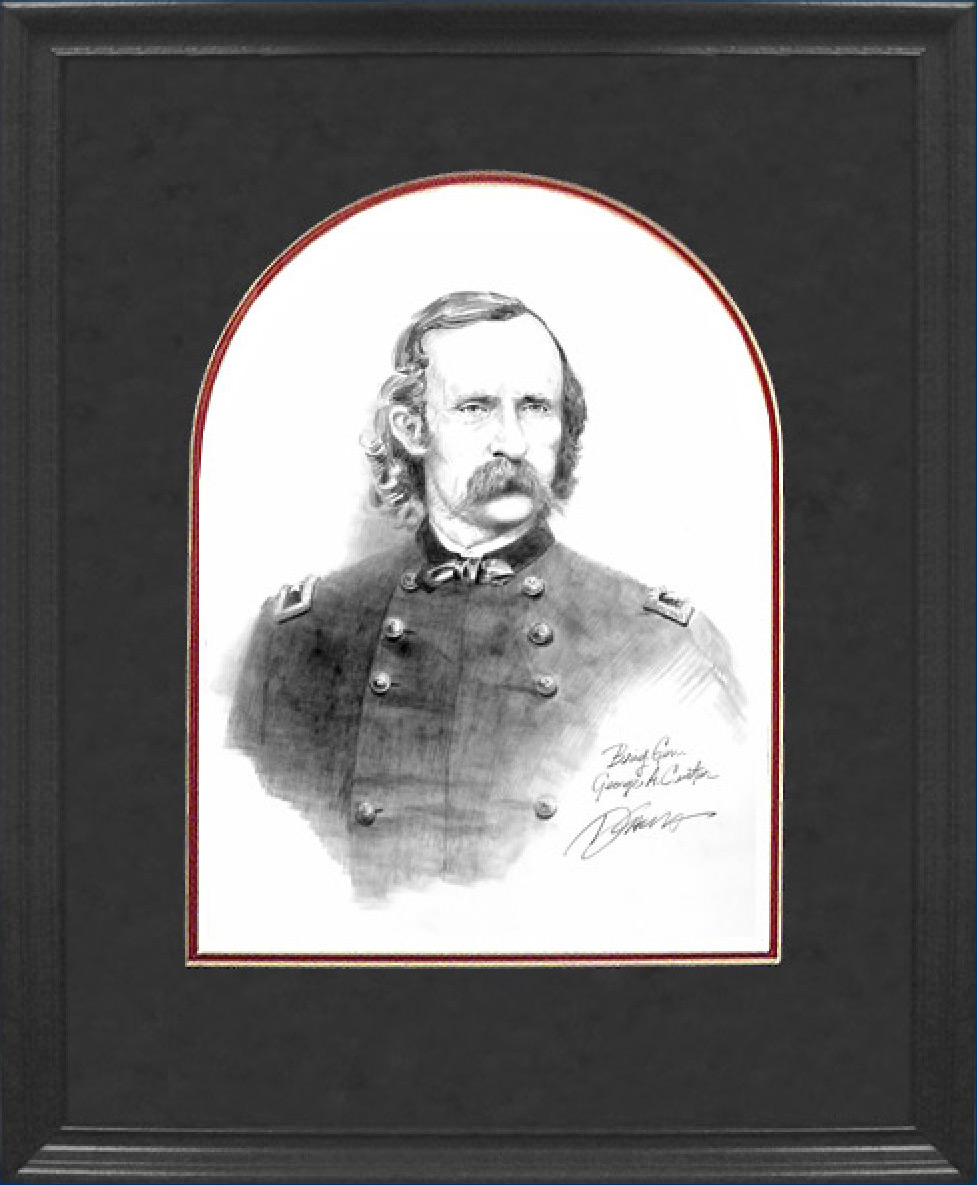 Framed Custer Pencil Sketch