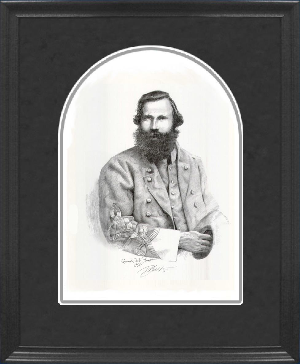 Framed JEB Stuart Pencil Sketch